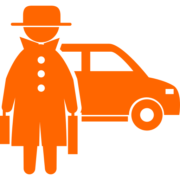Criminal front standing with two suitcases covered by hat and coat with a car behind